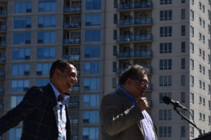 Strategic Group CEO Riaz Mamdani and Mayor Naheed Nenshi. Photo courtesy Strategic Group