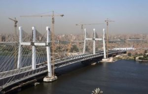 Figure 6: The concrete towers of the Rod el Farag Axis Bridge in Cairo, Egypt, which support 160 steel cables, were protected from the harsh riverine environment with a protective coating of Xypex Concentrate crystalline waterproofing.