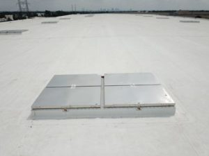 Dick Cold Storage in Columbus, Ohio, includes 18 smoke vents spread out across 10637 m2 (114,500 sf). The number of smoke vents required is determined by local building and fire codes and the type of commercial structure.