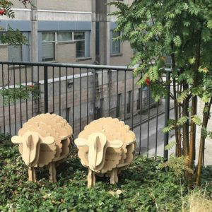 The University of British Columbia (UBC) conducted a wood surface science lab test. The first image was taken on day one of the lab test. The sheep on the left of the image is made out of a regular medium-density fibreboard (MDF) panel and on the right is acetylated MDF. At the end of winter, mould was apparent on the regular MDF (centre image) and none on the acetylated MDF (last image).