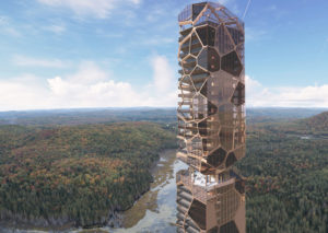 The Pekuliari tower by MU Architecture seeks to create a new relationship between humans and their natural habitat. Image courtesy MU Architecture