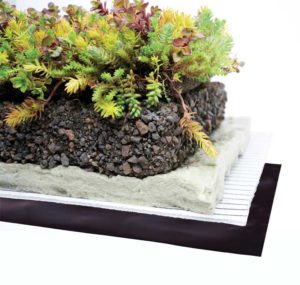 Among the various features of a friction-detention vegetated roof, most advantageous is that it can temporarily store and passively release 75 to 100 mm (3 to 4 in.) of rain and can be applied on sloped roofs.