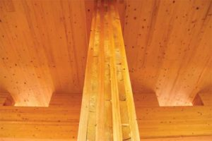Detail of CLT column and ceiling construction.