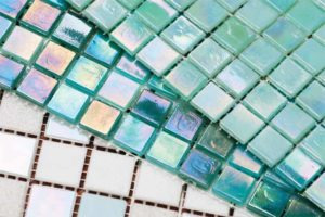 Glass tiles and mosaics come in various different textures.