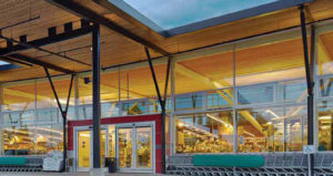 At Askew's Uptown Supermarket in Salmon Arm, B.C., slender concrete and steel tree columns are used for maximum flexibility. Photo © Martin Knowles