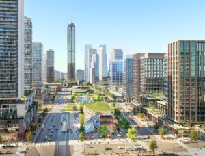 Designs are unveiled for Square One District, a new 53-ha (130-acre) mixed-use community in the heart of downtown Mississauga, Ont. Rendering courtesy CNW Group/Oxford Properties Group
