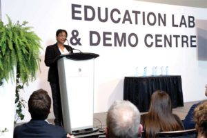 Nithya Caleb, editor of Construction Canada, announces the winners of the 2019 Emerging Leader Awards. Photos © Shivani Varma