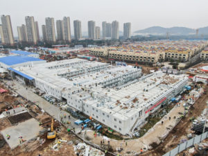The new prefabricated coronavirus hospital in Wuhan, China, has been completed. Photo via China Xinhua News Twitter