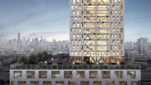 Exterior rendering of office and residential levels of Proto-Model X, Sidewalk Labs' prototypical timber building. Image courtesy Michael Green Architecture and Gensler