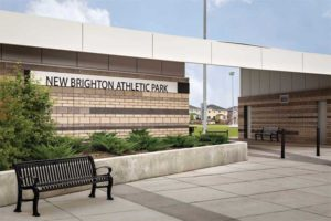 A panelized stone panel in terrazzo colour at the New Brighton Athletic Park in Calgary, Alta., features an integrated drainage channel acting as a rainscreen and keeping the wall dry. It eliminates the need for the substrate to be attached to z-bar or drainage mats, but still has the reduced thickness and esthetics of a thin stone veneer and can be applied directly over rigid insulation.