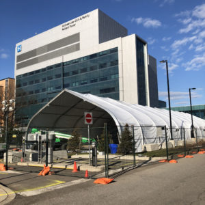 BLT Construction is building a prefab pandemic response unit at the Joseph Brant Hospital in Burlington, Ont., to increase capacity to care for patients with COVID-19. Photo courtesy Joseph Brant Hospital Twitter