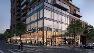 A new LCBO in Toronto's St. Clair West neighbourhood features a modern glass façade that seamlessly integrates into the neighbourhood creating a high-street feel. Rendering courtesy Adhoc Studio