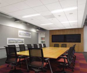 Acoustical ceilings in closed spaces should limit the transmission of sound between adjacent spaces, especially when the spaces share a common plenum.   Photos courtesy Armstrong Ceiling & Wall Solutions