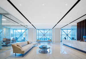 Finished ACOUSTIBuilt ceilings offer a smooth, monolithic, drywall-like visual. Photos courtesy Armstrong Ceiling Solutions