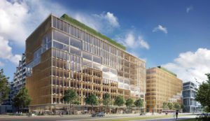 Ground breaks on T3 Bayside, an innovative mass timber office building at Toronto's waterfront. Image courtesy Hines