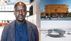 Sir David Adjaye has won the 2021 Royal Gold Medal for Architecture from the Royal Institute of British Architects (RIBA). Photos © Nick Fradkin (portrait), Nic Lehoux (Smithsonian National Museum for African American Arts and Culture, Washington), and Iwan Baan (Moscow School of Management)
