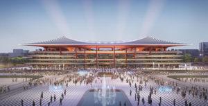 The Zaha Hadid Architects-designed Xi'an International Football Centre, China, will create a 60,000-seat stadium for national and international matches. Image courtesy Zaha Hadid Architects