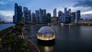 Appearing as a floating sphere, Apple Marina Bay Sands, Singapore, is the first Apple store to sit directly on the water. Photo courtesy Apple