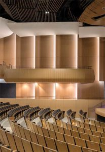A combination of reflectors and curtains provides the right balance for the Lazaridis Hall audience. The reflectors provide early reflections of sound while the curtains absorb and minimize late energy reflections, thereby optimizing speech intelligibility in the space.