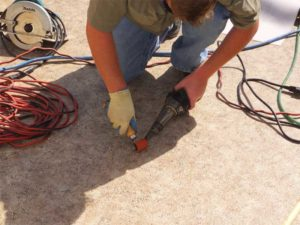 Heat-welded polyvinyl chloride (PVC) roof seams create a watertight seal. Photos courtesy Duradek