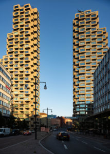 The 'Norra Tornen' twin towers in Stockholm, Sweden, designed by the Office for Metropolitan Architecture (OMA), wins the International Highrise Award 2020.  Photo © Anders Bobert. Photo courtesy OMA