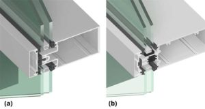 Figure 3: Curtain wall sections of (a) a typical captured curtain wall with a small thermal isolator and (b) a higher performance thermally broken captured curtain wall with 24 mm (0.95 in.) polyamide (PA) dual thermal barriers and a 6 mm (¼ in.) thermal isolator. Image courtesy Tubelite Inc.