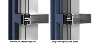 Figure 5: A thermally broken curtain wall system with a polyamide pressure plate. Images courtesy YKK AP America Inc.