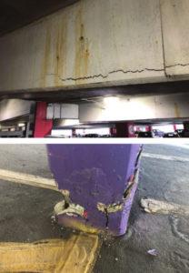 Figure 1: Typical concrete deterioration of a cast-in-place concrete parking structure.