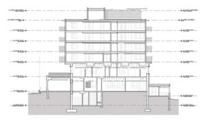 With the overall height of the fire hall building limited by zoning, it was necessary to minimize the structural depth of each floor. Image © Johnston Davidson Architecture