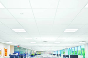 AirAssure ceiling panels easily retrofit into existing grid systems, incorporate a gasket in their design, and can increase the effectiveness of in-ceiling air filtration up to 40 percent. Photos courtesy Armstrong Ceiling & Wall Solutions