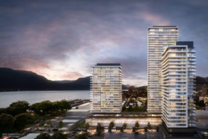 Water Street by the Park, a three-tower development in Kelowna, will feature the tallest building in the B.C. Interior. Rendering courtesy Orchard Park Properties