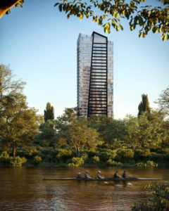 IBI Group's design for LeftBank, a 34-storey condominium tower rising above the Don River, Toronto, is inspired by the natural topography of the River District. Image courtesy Broccolini