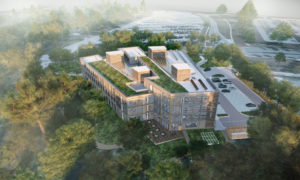 ZAS Architects revealed a wood-based, net-zero carbon design for Toronto and Region Conservation Authority's (TRCA's) new administrative office building. Rendering courtesy ZAS Architects