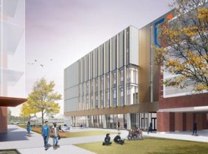 Inspired by a sundial, the General Academic and Student Building at Ontario Tech University, Oshawa, Ont., by Montgomery Sisam Architects and Architectural Counsel, is designed to revolve around solar orientation. Rendering courtesy Montgomery Sisam Architects